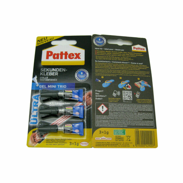 Pattex Sekundenkleber MINI TRIO 3 Tuben à 1 g