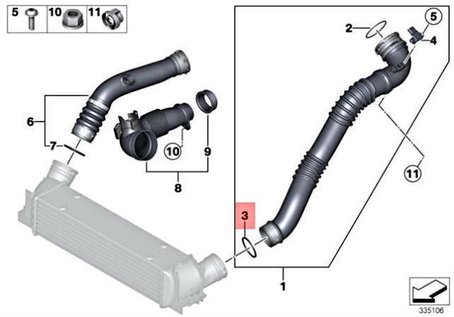 Intercooler Outlet to Air Intake Hose Brand New GENUINE BMW Intercooler Seal