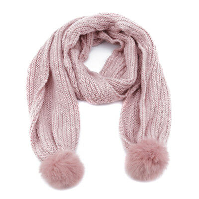 Green ZOOMY Children Boys Girls Knitted Scarf Solid Color Thickened Winter Neck Warmer Shawl Rubber Letters Patch Scarves