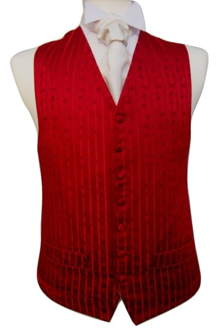 MENS AND PAGE BOYS RED CALIBRA WEDDING DRESS SUIT VEST WAISTCOAT ALL SIZES