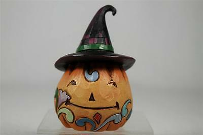 Jim Shore 'Mini Pumpkin With Witch Hat' Halloween Figurine  #4024652  NEW!