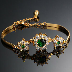 18K-Gold-Armband-Armreif-vergoldet-Armreifen-Armkette-Damen-Prinzessin-Schmuck