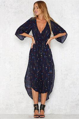 BNWT Angel Biba Navy Blue Tribal Print 3/4 Sleeve WRAP Maxi Dress 6 8 - LAST TWO