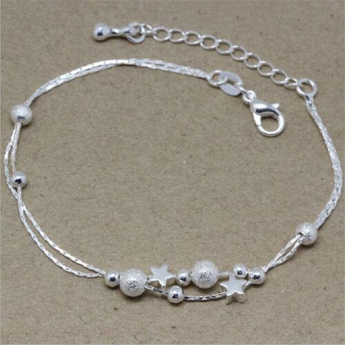 Women Pretty Silver Color Star Chain Bracelet Fashion Beads Bracelets Bangles