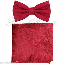 Red/ Red Paisley Pre-tied Butterfly Design Bowtie and Pocket Square Hanky Set