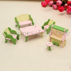 Retro-Doll-House-Miniature-Guest-Room-Wooden-Furniture-Set-Kids-Pretend-Play-Toy