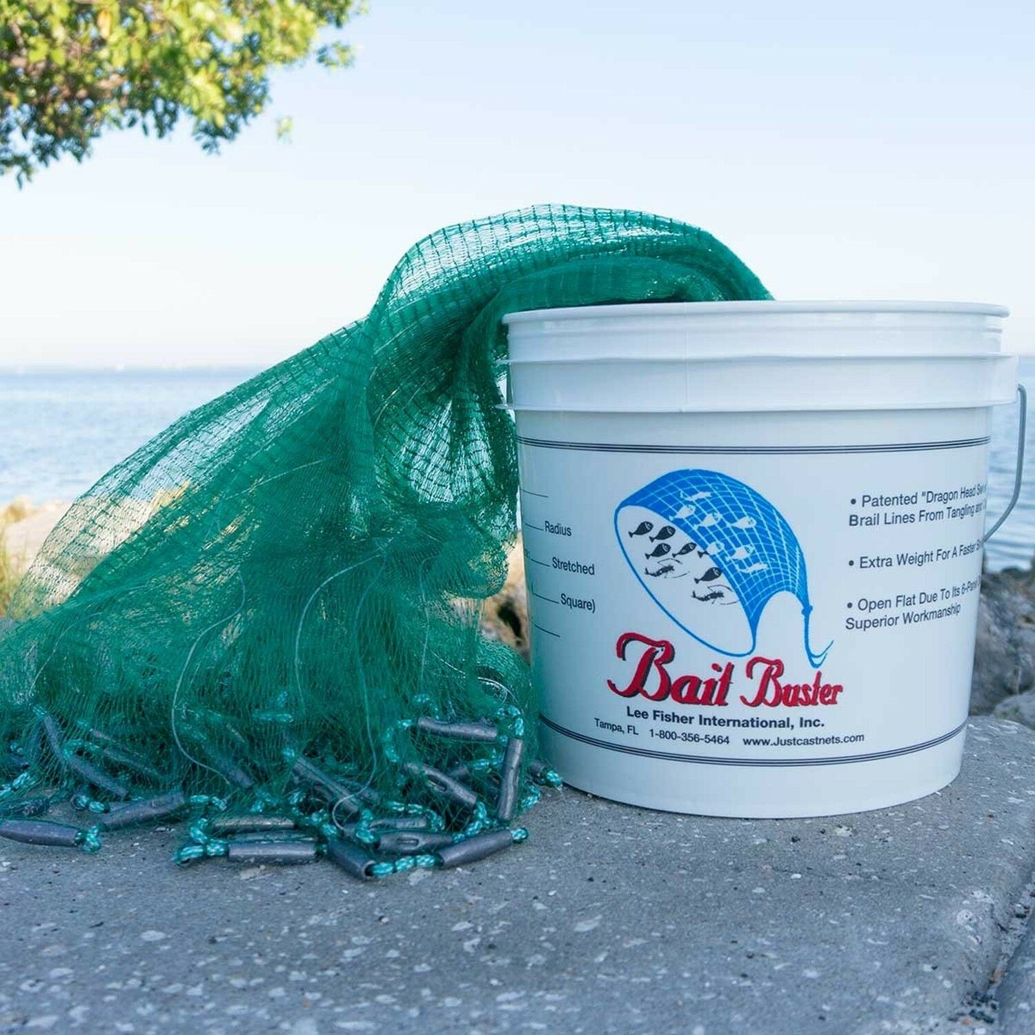 Bait Buster Pro Grade Minnow Cast Net  with 1 4  Squared Mesh - 8 Foot Radius  the lowest price