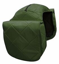 WESTERN HORSE LARGE SADDLE BAG OR MOTORCYCLE SADDLE BAGS GREEN QUILTED NYLON