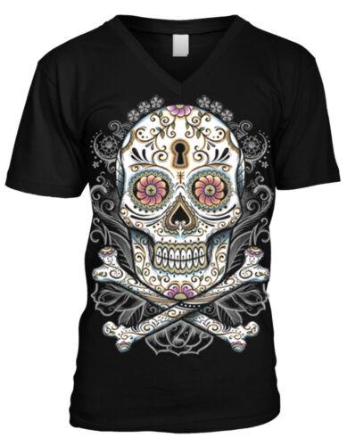 Sugar Skull Day Of The Dead Holiday Tattoos Henna Zombie  Mens V-neck T-shirt