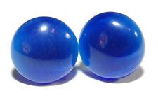 ROYAL BLUE FIBER OPTIC CATS EYE STUD EARRINGS (S081)