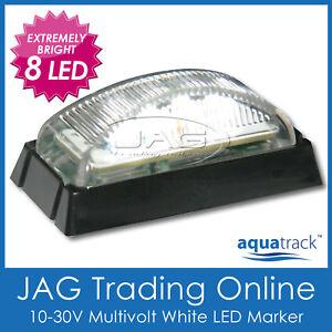 10V-30V 8-LED WHITE MARKER LAMP/CLEARANCE LIGHT - Boat/Trailer/T<wbr/>ruck/Caravan BL