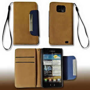 Book-Style-Handy-Tasche-Cover-Case-Hulle-in-Braun-fur-Samsung-i9100-Galaxy-S2