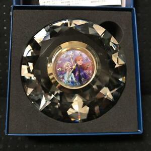 Frozen2 Premium Diamond Cut Crystal Clock Anna and Elsa From Japan