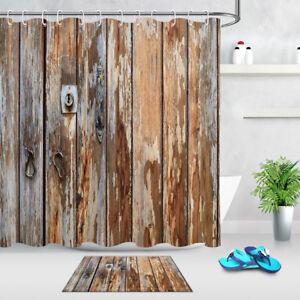 """71//79/"""" Rustic Wood Barn Door Waterproof Fabric Shower Curtain Set Bathroom Decor"""