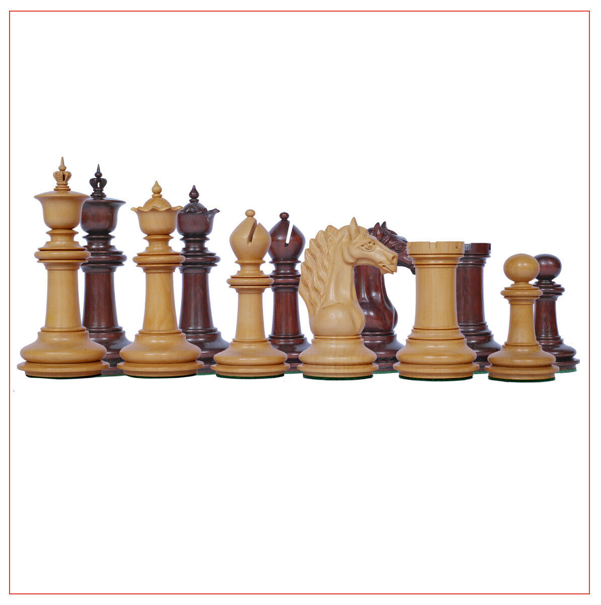Macedon Series 4.4  Luxury  Staunton Chess Set in  Padouk e scatola wood  salutare