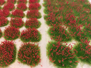 Flower-Patches-Red-Model-Scenery-Static-Grass-Tufts-Railway-Wargames-Fields