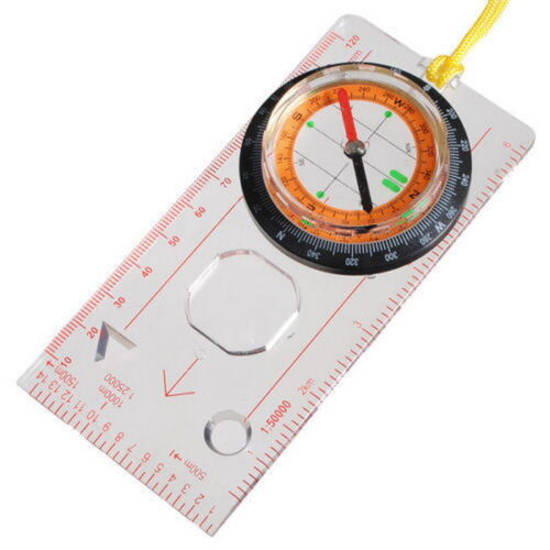 Compass Ruler Scale Scout Hiking Trekking Orienteering Map Tool Outdoor Useful