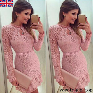Womens-Ladies-Bodycon-Long-Sleeve-Lace-Skater-Prom-Formal-Cocktail-Party-Dress