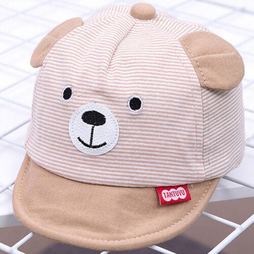 Kinder Unisex Baby Gestreift Süß Bär Ohren Baseball Cap Basecap Snapback Kappen