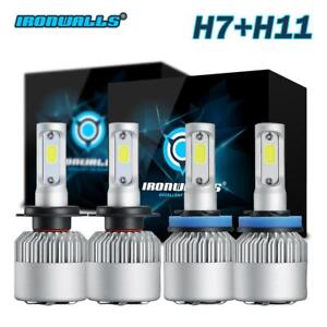 Combo-H11-H7-LED-Headlight-Bulbs-Kit-High-Low-Beam-Total-2600W-390000LM-6500K-4x