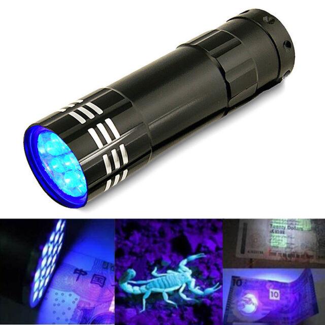 9LED Mini Aluminum UV Ultra Violet Flashlight Torch Light Lamp AAA Battery NEW
