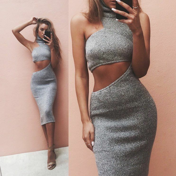 SABO SKIRT LUXE KNIT COUPE GREY DRESS SZ XS/6 SOLD OUT EVERYWHERE