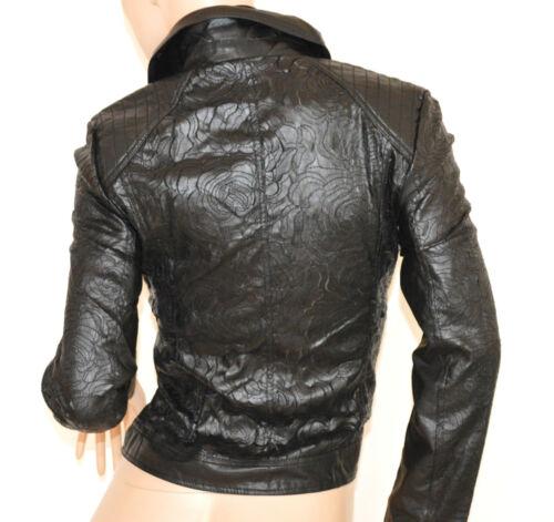 GIUBBINO NERO donna giacca eco pelle giacchino giubbotto ricamato zip oro H25