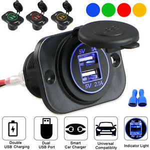 3.4A Dual USB Port Charger Socket Outlet Waterproof 12V LED for Motorcycle Car