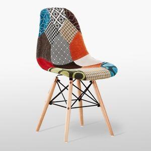 Moda Patchwork Eiffel Chaise Pour Salle A Manger Salon Tissu Retro
