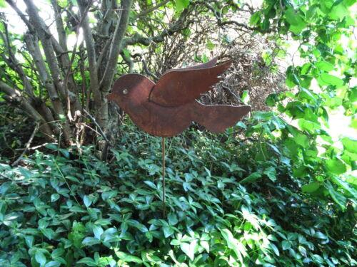 Rost Gartenstecker Vogel aus Metall mit 2 Flügeln Gartendeko