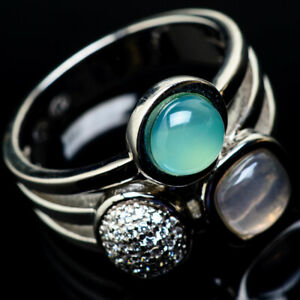 Aqua-Chalcedony-Rose-Quartz-925-Sterling-Silver-Ring-Size-7-75-Jewelry-R19159F