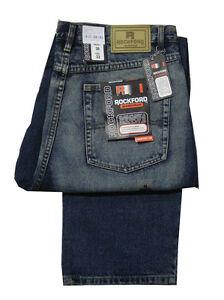 Hombre-Rockford-Moderno-Corte-Comodo-Basico-Vaqueros-grisaceo-Azul