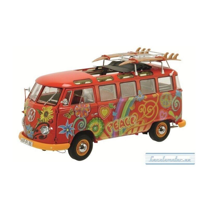 1 18 1960 volkswagen t1 samba hippie, rouge SCHUCO 283