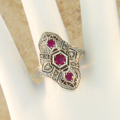 GENUINE RUBY AND PEARL ANTIQUE DECO DESIGN .925 STERLING SILVER RING Sz 9 #23