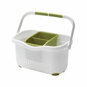 Sink-Tidy-Caddy-Cutlery-Kitchen-Holder-Rack-Plastic-Untensils-Organiser-Addis-WN