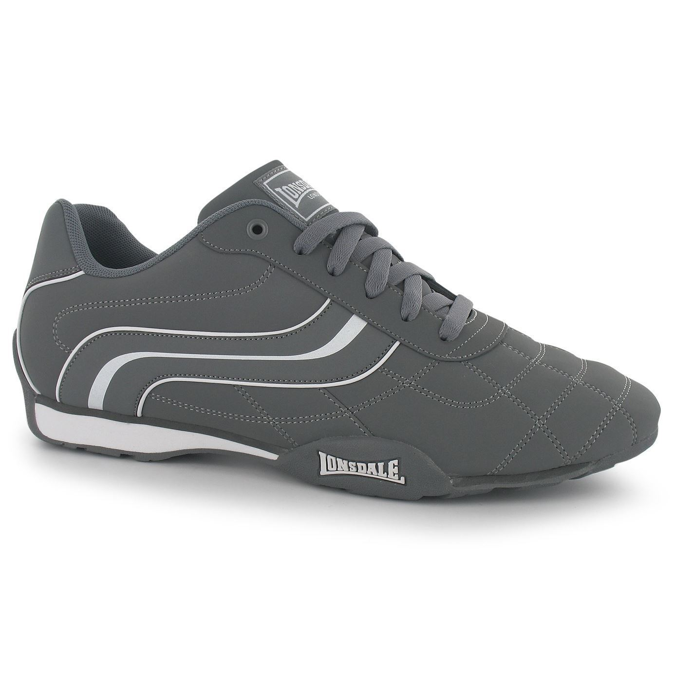 Lonsdale Camden Trainers Mens Grey White Casual Sneakers shoes Footwear