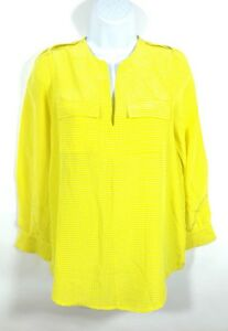 2405a5a7e55ab Joie Marlo Blouse XS Yellow White Long Sleeve 100% Silk Blouse Top ...