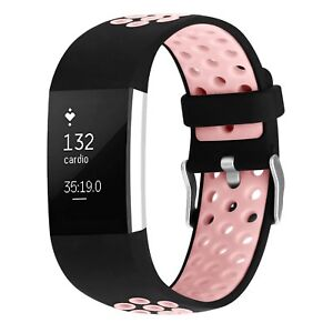 For-Fitbit-Charge-2-Replacement-Silicone-Wristband-Wrist-Strap-Watch-Band-Pink-L