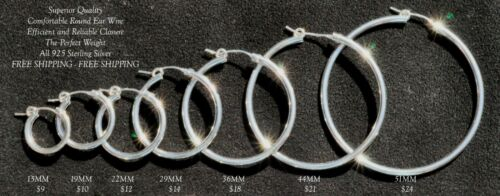 2mm Sterling Silver Hoop Earrings size 12mm-60mm FREE SHIPPING