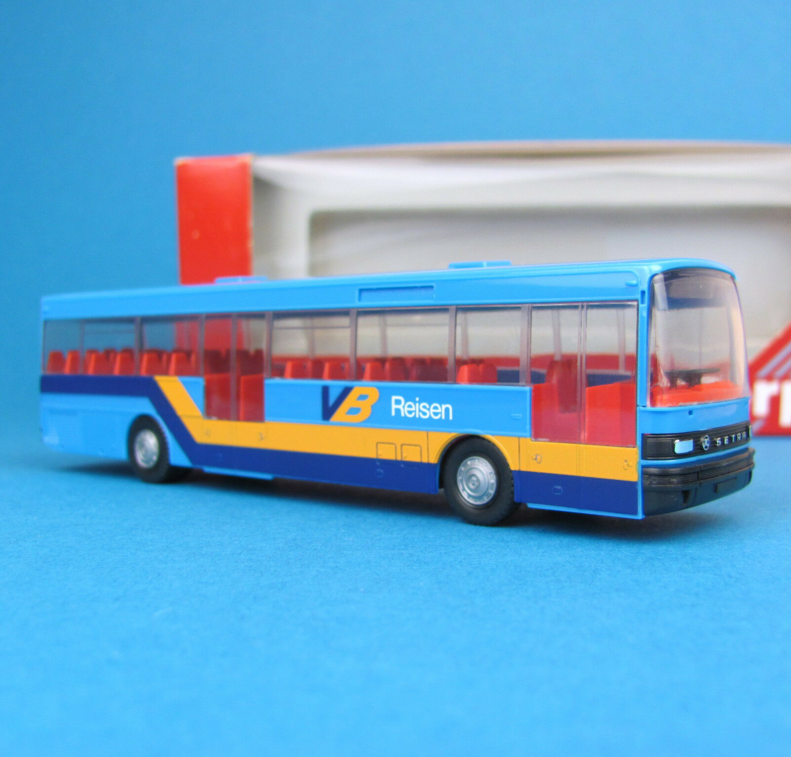 Herpa h0 Setra S 215 HD Bus VB voyages Neratovice manœuvrable bleu neuf dans sa boîte HO 1 87
