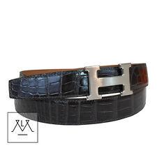 BNIB Hermes Belt 32mm Size 100 Men's Gris Fonce Grey Black Crocodile