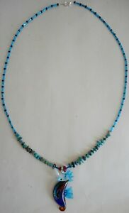 Green-Blue-Sea-Horse-25-inch-blue-amp-green-necklace-Pascua-Yaqui-American-Indian