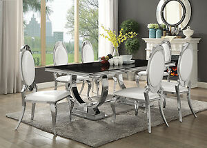 Image Is Loading Contemporary Black Gl Chrome Dining Table Pearly Cream