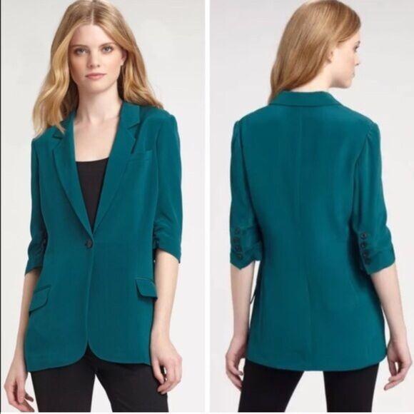 Nuevo con etiquetas nuevo para mujer  Chaqueta Blazer Diseñador Elizabeth and James de seda de 2 verde Jade  oferta de tienda