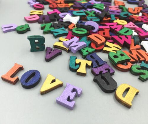 200X Random Mixed Wooden Embellishments Letters Scrapbooking Crafts 15mm