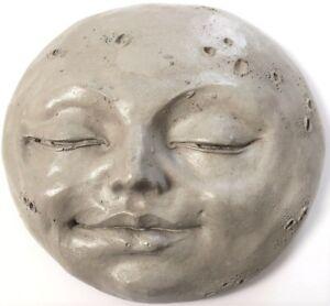 Folk Art Wall Sculpture Handmade Hanging Crescent Moon by Claybraven