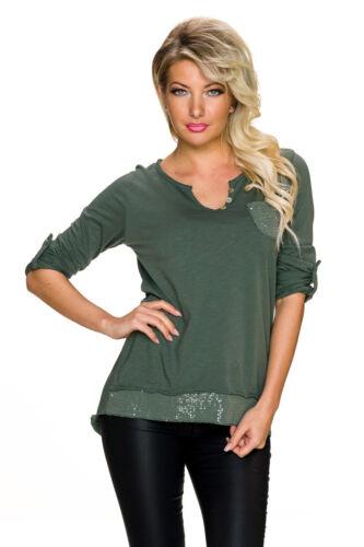 Damen Longsleeve Shirt langarm Top Turn-up Pailletten 34 36 38 Party Slum Jersey