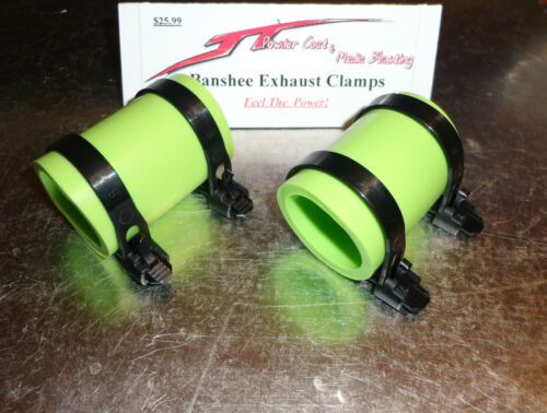 Factory Yamaha Banshee exhaust pipe clamps all years fmf,dg GREEN