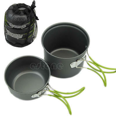 NEW Portable Outdoor Camping Hiking Cooking Nonstick Bowl Pots Pans Cookware Set