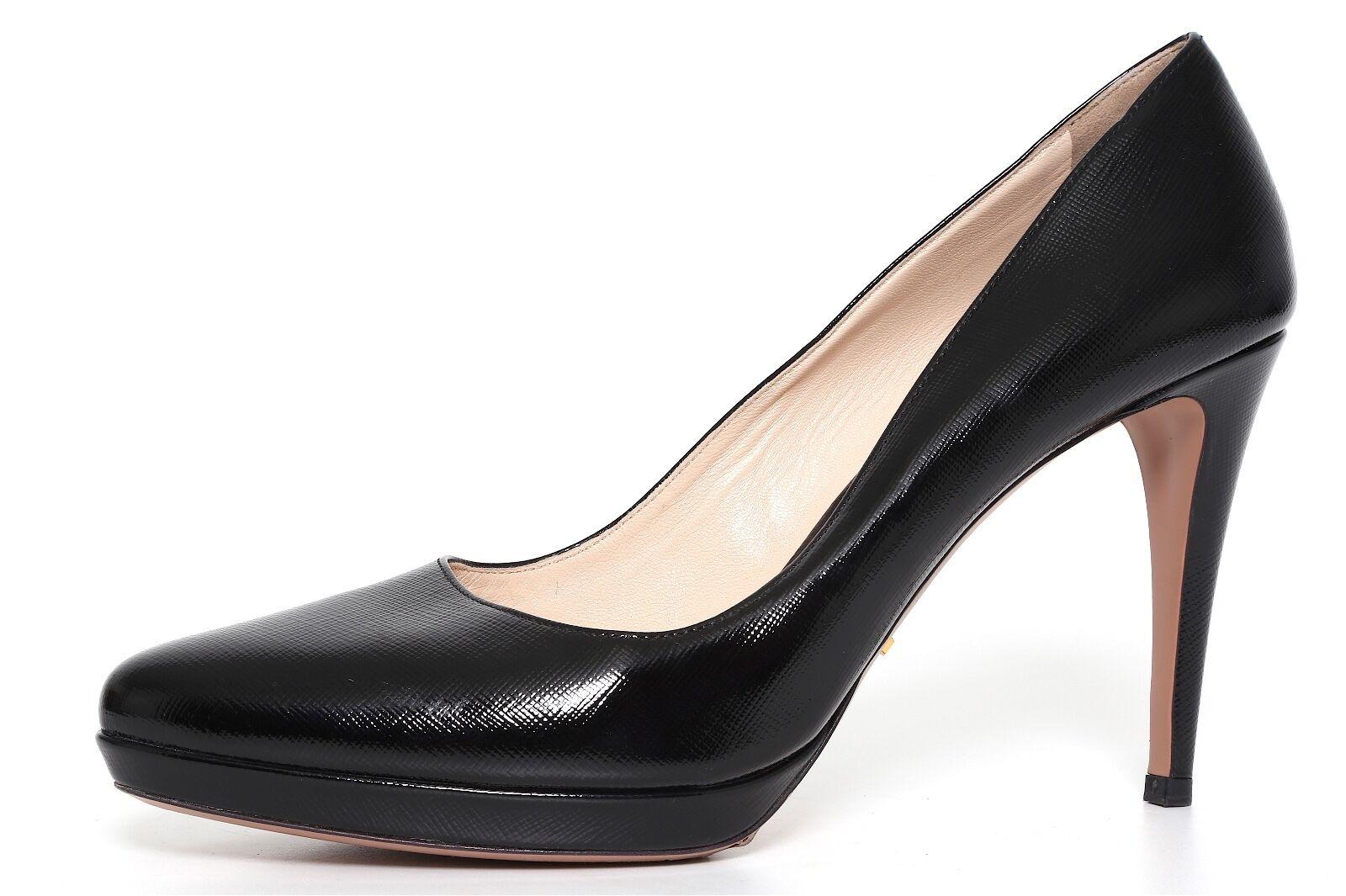 Prada High Heel Pumps Leather Black Women Size 40.5 EUR 4091
